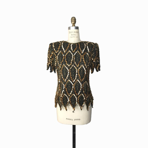 silk sequin gold leaf top | black beaded blouse