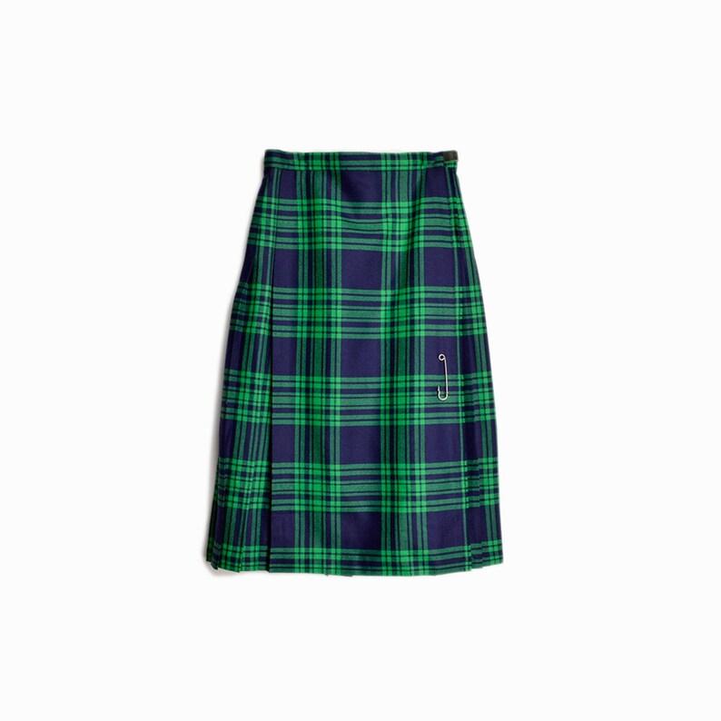 bb7ca3df1 Vintage 60s Plaid Wool Wrap Skirt in Green & Navy / Tartan | Etsy