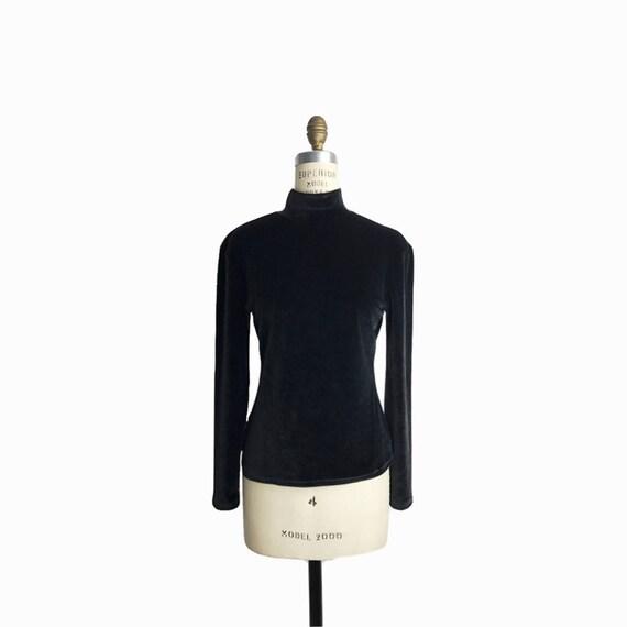 Vintage 90s Black Velour Top / Velvet Turtleneck Top / Long Sleeve Velvet Top - women's medium