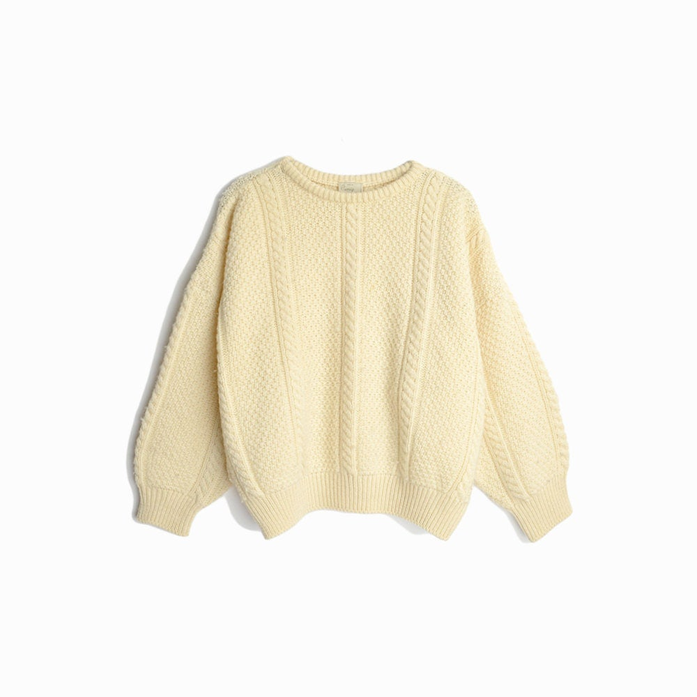 Vintage Cable Knit Wool Fisherman Sweater In Ivory Cream Irish