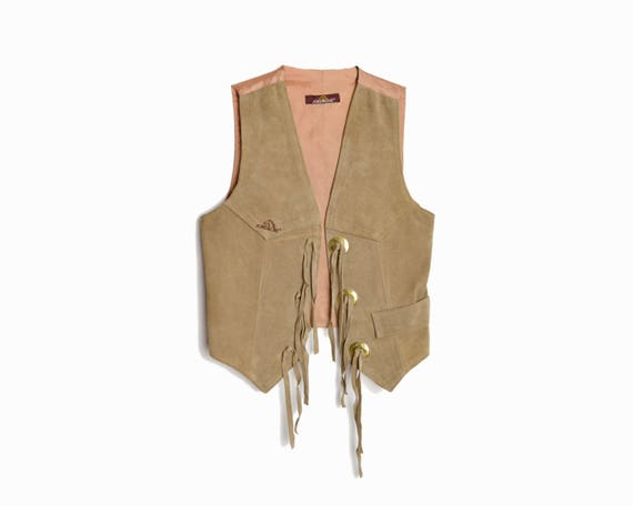 Vintage Fringed Leather Vest / Fringed Leather Festival Vest / 90s Leather Vest by Jordache - women's small/medium