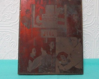 PRINTER BLOCK Year Book Antique Press 1935 South High Annual Printing Yearbook Old Patina Copper Girls School Class Club Students