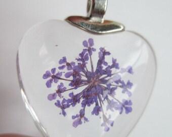 1 Dried flower purple glass pendant F271