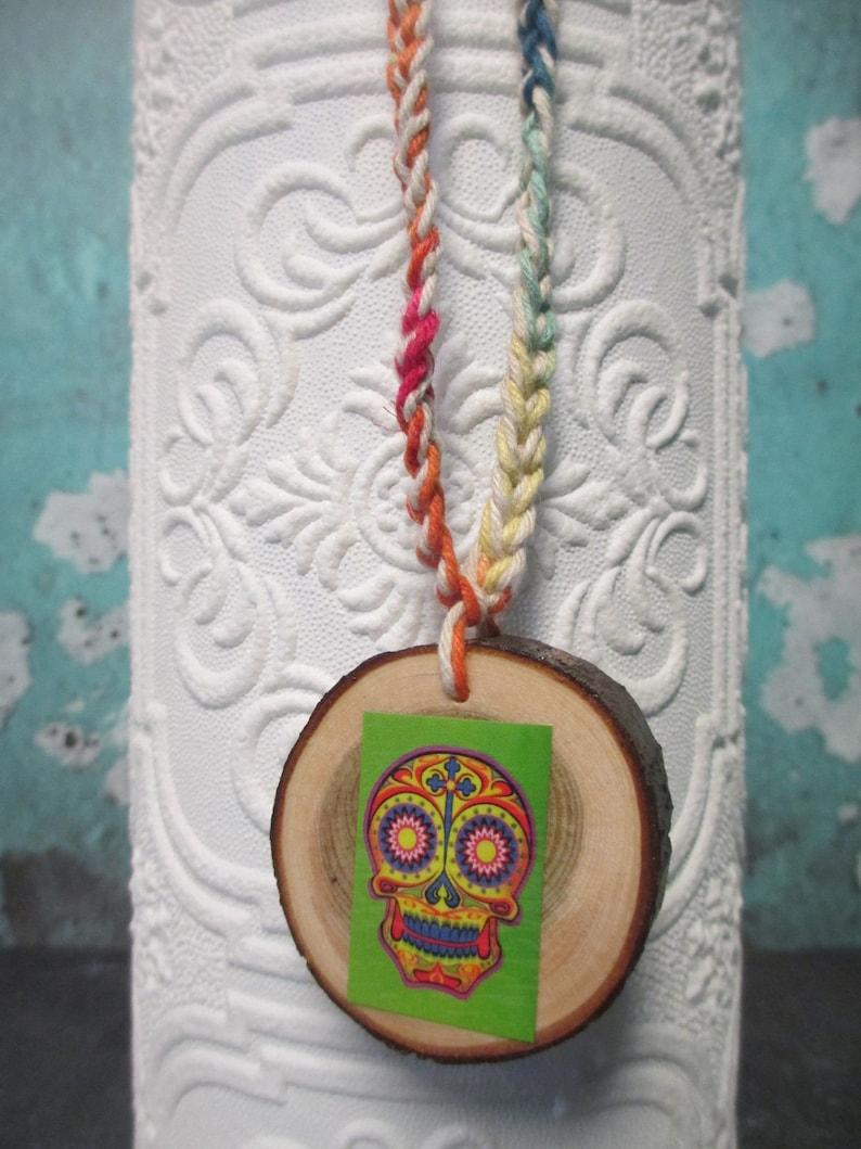 Rainbow and Beige Twine SUGAR SKULL Handmade Hemp Necklace Tree Branch Wood Slice Art Pendant