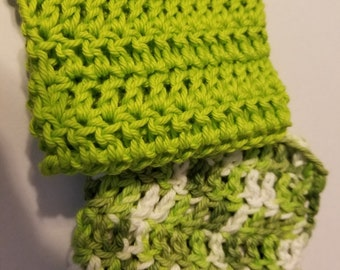 Set of coordinated crocheted dish cloths one solid one variegated