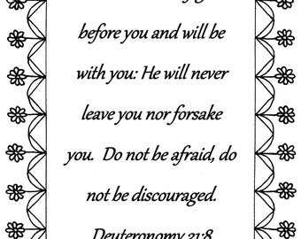 The Lord Himself Goes Before You Deuteronomy 318 Bible Verse Coloring Page