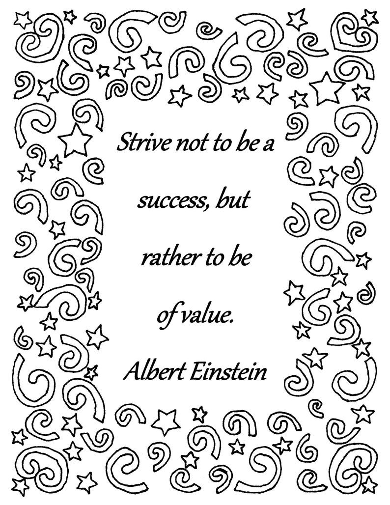 Strive not to be a success albert einstein quote coloring page download