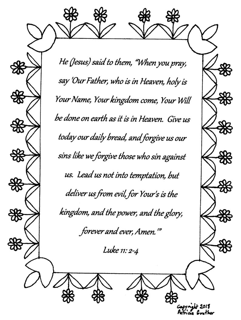 - The Lord's Prayer...Luke 11:2-4 Bible Verse Coloring Page Etsy