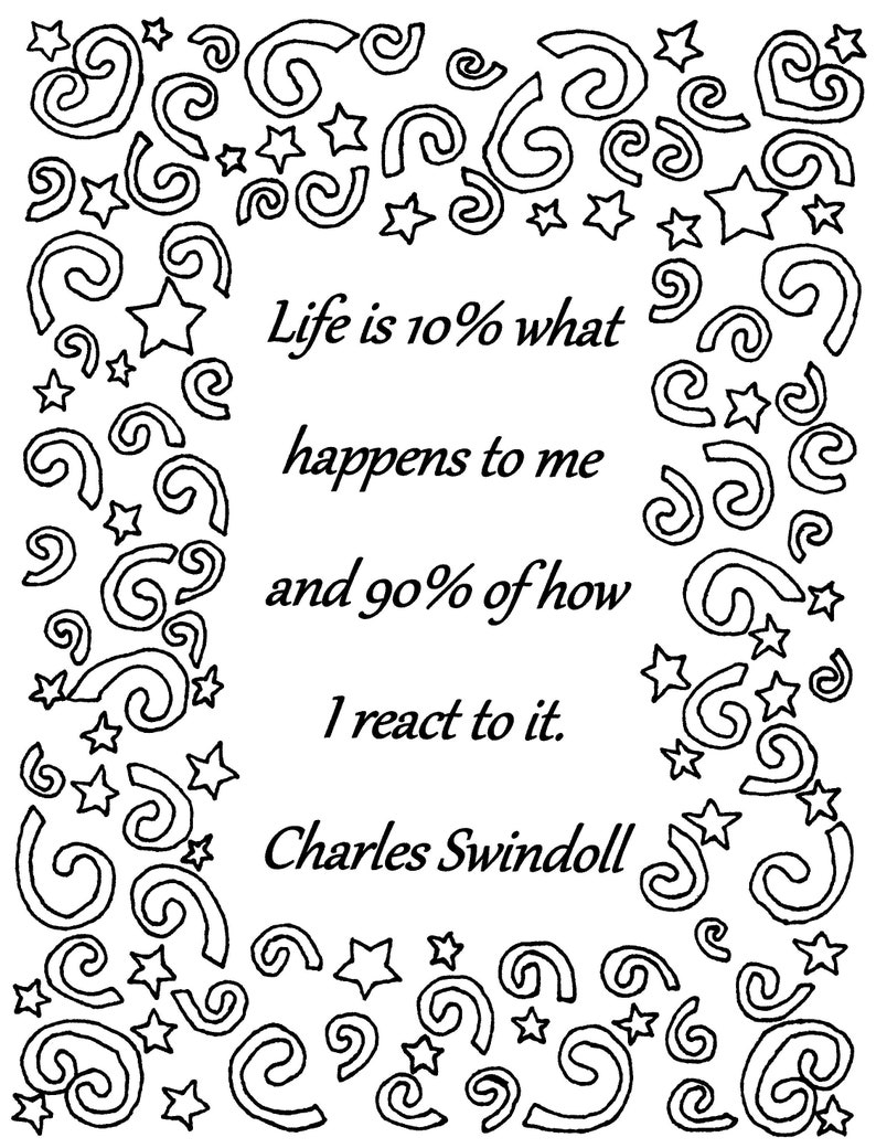Life is 10% what happens to me Charles Swindoll quote coloring page download