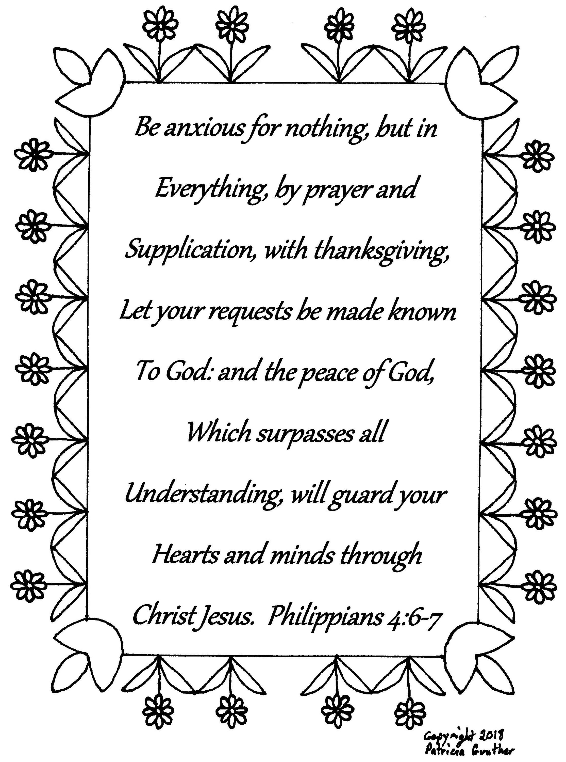Be anxious for nothing...Philippians 4:6-7 Bible verse | Etsy