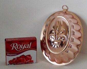 Vintage French Fleur de lis Copper And Aluminum Jello Gelatin Mold