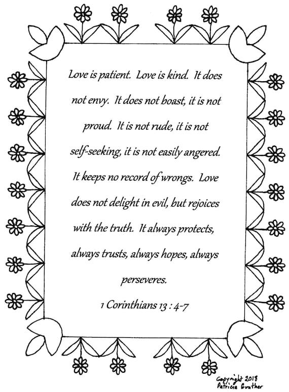 1 Corinthians 13 Coloring Page about Love | 772x570