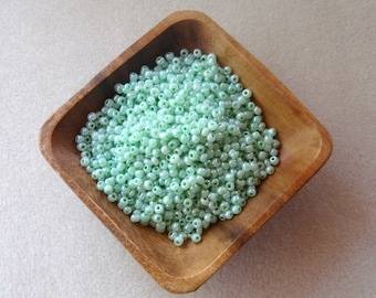 Glass Seed Beads, Mint Green, Luster Beads, Jewelry Making Beads, Seed Beads, Bead Weaving, Bead Embroidery, E Beads, 6/0 or 4mm, Loose Lot