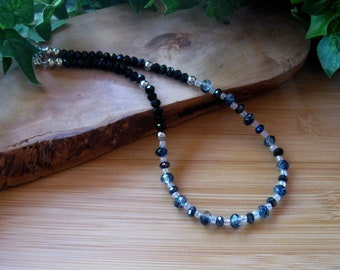 """Faceted Glass Beaded Necklace, Glass Crystal Beads, Silver Findings, Choker Necklace, Artisan Jewelry, Black White Blue, 16 1/2"""""""