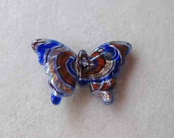 Butterfly Pendant, Lamp Work Glass Pendant, Beading  Crafting, Jewelry Design, Jewelry Making Beads, Big Bold Large, Murano Style Pendant