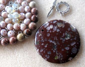Jasper Coin Pendant, Flower Jasper, Glass Beads, DIY Jewelry Kit, Gemstone Beads, Bead Kit, Necklace Kit, Jewelry Design