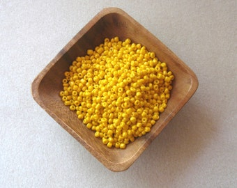 Opaque  Yellow, Glass Seed Bead, Jewelry Making Beads, Seed Beads, Bead Weaving, Bead Embroidery, E Beads, 6/0 or 4mm, Loose Lot