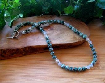 Tree Agate, Crystal Glass Beads, Gemstone Beaded Necklace, Stone Jewelry, Women's Necklace, Handmade Jewelry, Green White, Collar Necklace