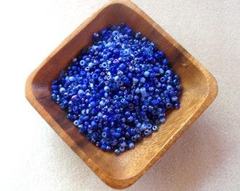 Glass Seed Beads, 6/0 E Beads, 4mm, 'Sapphire' Loose Lot, Bead Mix,  Jewelry Making Beads, Glass Beads, Bead Soup Mix, Blue Beads