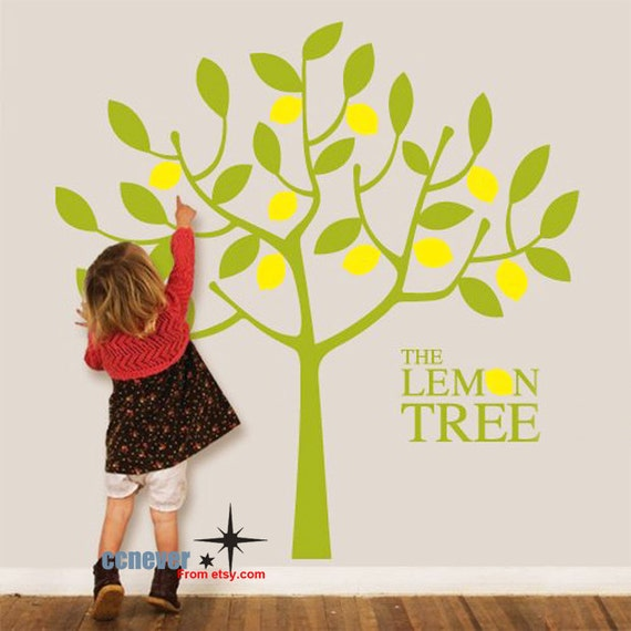 lemon tree kids nursery vinyl art mural decals wall stickers | etsy