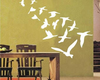 21pcs Flock Of Birds----Removable Graphic Art wall decals stickers home decor