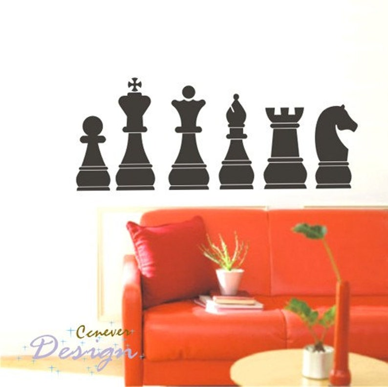 Chess Board Pieces 60inch W----Removable Graphic Art wall decals stickers home decor