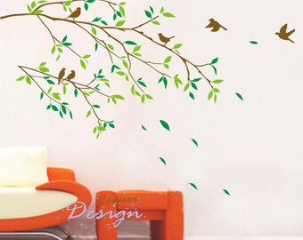 Birds group on tree branches----Removable Graphic Art wall decals stickers home decor