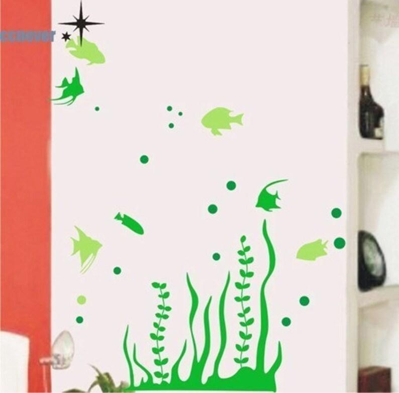 sealife ocean fish seaweed aquarium----Graphic removable Vinyl wall decals stickers home decor