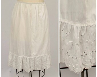 3e39bd9da16f white cotton eyelet lace half slip 70s vintage sheer tiered skirt XS to  small