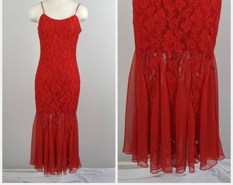 52eb5ce8a5 red lace fitted sexy cocktail dress with chiffon handkerchief hem Roberta  80s vintage body con party dancing dress 42 4 6 XS Small