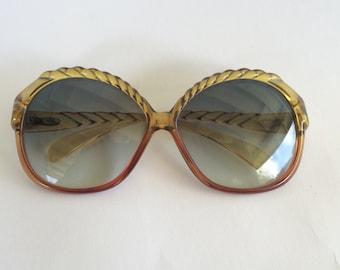 61bb831adcd Christian Dior 70s 80s Vintage Oversized Big Sunglasses Eyeglass Frames  Amber Brown Rope Detail Disco Designer Optyl Glasses