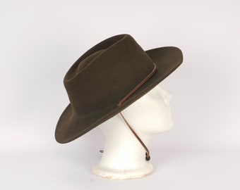 e63c77dea55 wide brim brown wool hat Boy Scouts western hat with leather chin strap  large BSA Leisure Felt