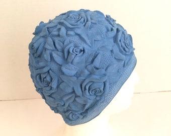 molded rubber 50s to 60s vintage blue flower 3D roses swim cap bathing beach