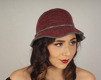 wool bucket hat I. Magnin Italian made vintage red and gray tweed cap  winter hat women walking hat e9da65b0f23b