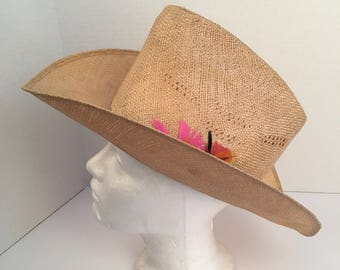 fa0bf34b330e0 natural straw high cowboy hat with pink feathers 7 Bailey U-Rollit western  cattleman rodeo