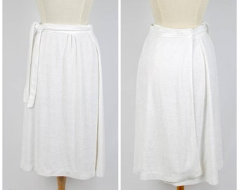 9ee31d84ae white terry cloth wrap skirt swimsuit cover small to medium 70s vintage  Graff Californiawear