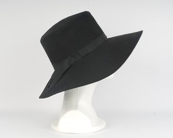 d9ffda82 floppy wide brim black hat 80s vintage dressy sun hat