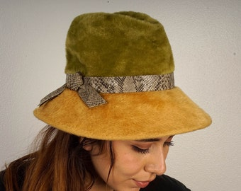 f3765771b93 high crown green and gold wool Austria Germany Musketeer hat faux snakeskin  band 60s 70s vintage dressy olive mustard fancy tall fedora
