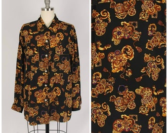 1aecaa21 black and gold baroque print blouse satin pajama top