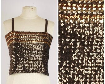 274fbc8c0b1 metallic sequin tube top copper bronze gold spaghetti strap crop top