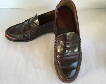 c7109db83ec Oxblood Leather Johnston and Murphy Penny Loafers Vintage Men s Slip On  Shoes 11