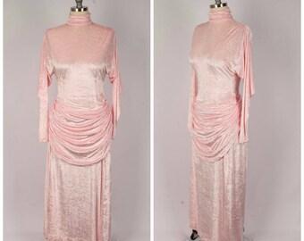 Made in USA Purple Avant Garde Portrait Collar Formal Gown 270 mv Dress S M L