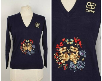 20b33f4573c Cancer Zodiac Sign Embroidered Sweater NEW 70s vintage NWT dark blue LeRoy  Knitwear Pullover V Neck Jumper Small to medium Women