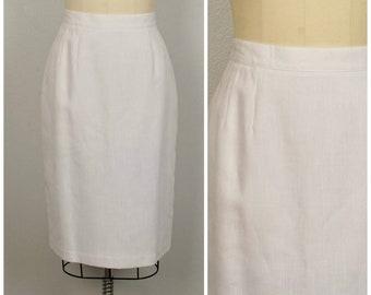 e3fdfe2f0a3 white soft pleat linen look pencil skirt 30 inch waist medium to large 80s  vintage high waist below the knee Sag Harbor