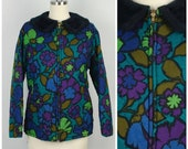 dark floral mod quilted cotton jacket with faux fur collar 60s vintage