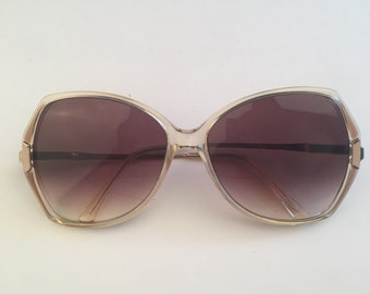 5e784509107 Safilo Italy Lady Elasta 70s 80s Vintage Oversized Big Sunglasses Eyeglass  Frames blush pink amber and gold glasses