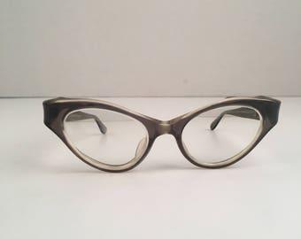 d6801890763 50s Vintage Cats Eye Glasses France Eyeglass Plastic Frames Reading Glasses  Smoky Gray