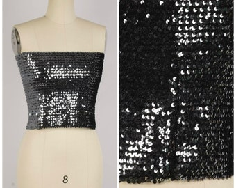 17725e9b9d0 pewter silver sequin tube top 70s vintage stretchy strapless beaded top