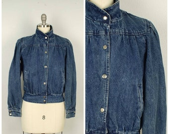 16e9386dafe cropped denim bomber with puffy sleeves and high collar 80s jean jacket