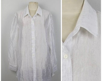 3827574d7dc6a oversize long sheer white crinkly button up blouse 90s